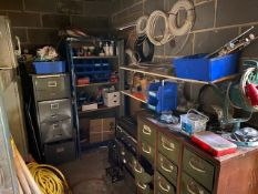 CONTENTS OF STORE ROOM TO INCLUDE: INJECTOR PINS, WATER FITTINGS, ASSORTED GREASE, SAW BLADES, NUTS,