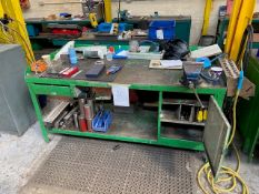 METAL WORK STATION TO INCLUDE: ASSORTED TOOLING, VICE, FAN HEATER, ETC
