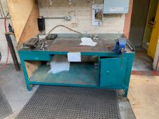 SQUARE HEAVY DUTY WORK BENCH WITH VICE & UNDERSHELF