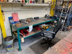 3M WIDE RECTANGULAR WORK STATION WITH VICE TO INCLUDE COMPONENTS & TOOLING