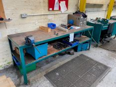 3M WIDE RECTANGULAR WORK STATION WITH UNDERSHELF TO INCLUDE ASSORTED COMPONENTS, & TOOLING