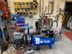 LARGE MIXED LOT TO INCLUDE THORITE MOBILE COMPRESSOR, HEAVY DUTY LUGS, SS SIDE CABINET, PLASTIC