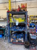 4 TIER METAL RACK WITH SELECTION OF STEELS FOR MOULDING TO INCLUDE BLUE P20, YELLOW H13, RED MILD