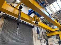 HAROLD POTTER 20 TON ELECTRIC CRANE HOIST ON 9m SPAN - 30m TRAVEL. NOTE: ITEM WILL REMAIN LAST FOR