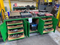 METAL WORK STATION AND CONTENTS TO INCLUDE: APPROX 300 VARIOUS TOOLS, i.e. SOCKET SETS, DRILLS,