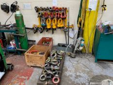 MIXED LOT TO INCLUDE: APPROXIMATELY 140 HEAVY DUTY LIFTING LUGS, CHAINS, LIFTING EYES & SLINGS