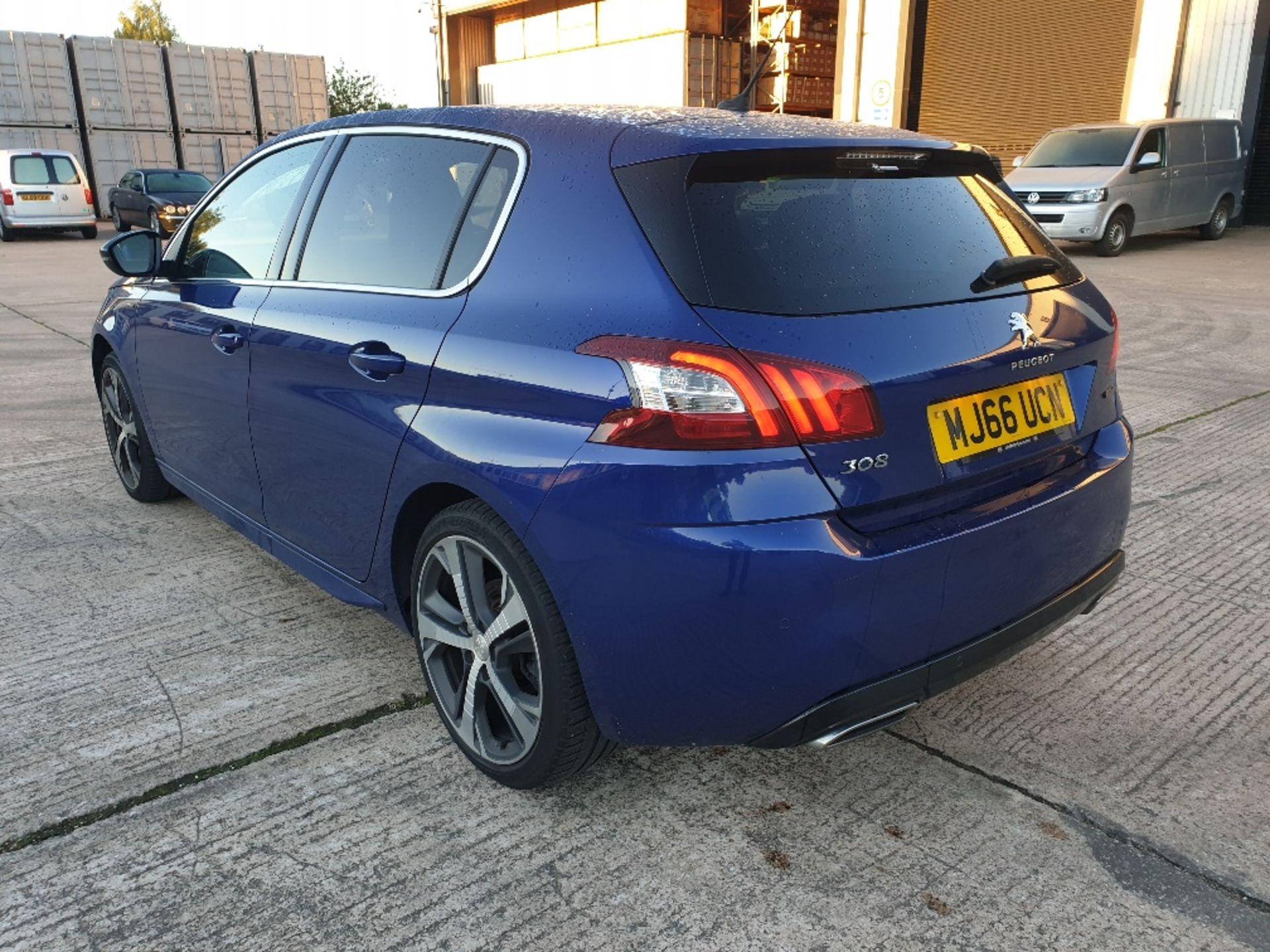 BLUE PEUGEOT 308 GT LINE. Reg : MJ66 UCN, Mileage : 14470 Details: WITH 2 X KEYS WITH V5 MOT UNTIL - Image 3 of 12