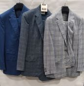 3 X BRAND NEW LUTWYCHE 2 PC COLOURED SUITS SIZES 46R, 40R, 42R (NOTE NOT FULLY TAILORED)