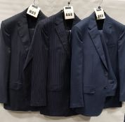 3 X BRAND NEW LUTWYCHE 2 PC DARK BLUE SHADES MATCHING SUITS SIZES 40L, 42R, 42R (NOTE NOT FULLY