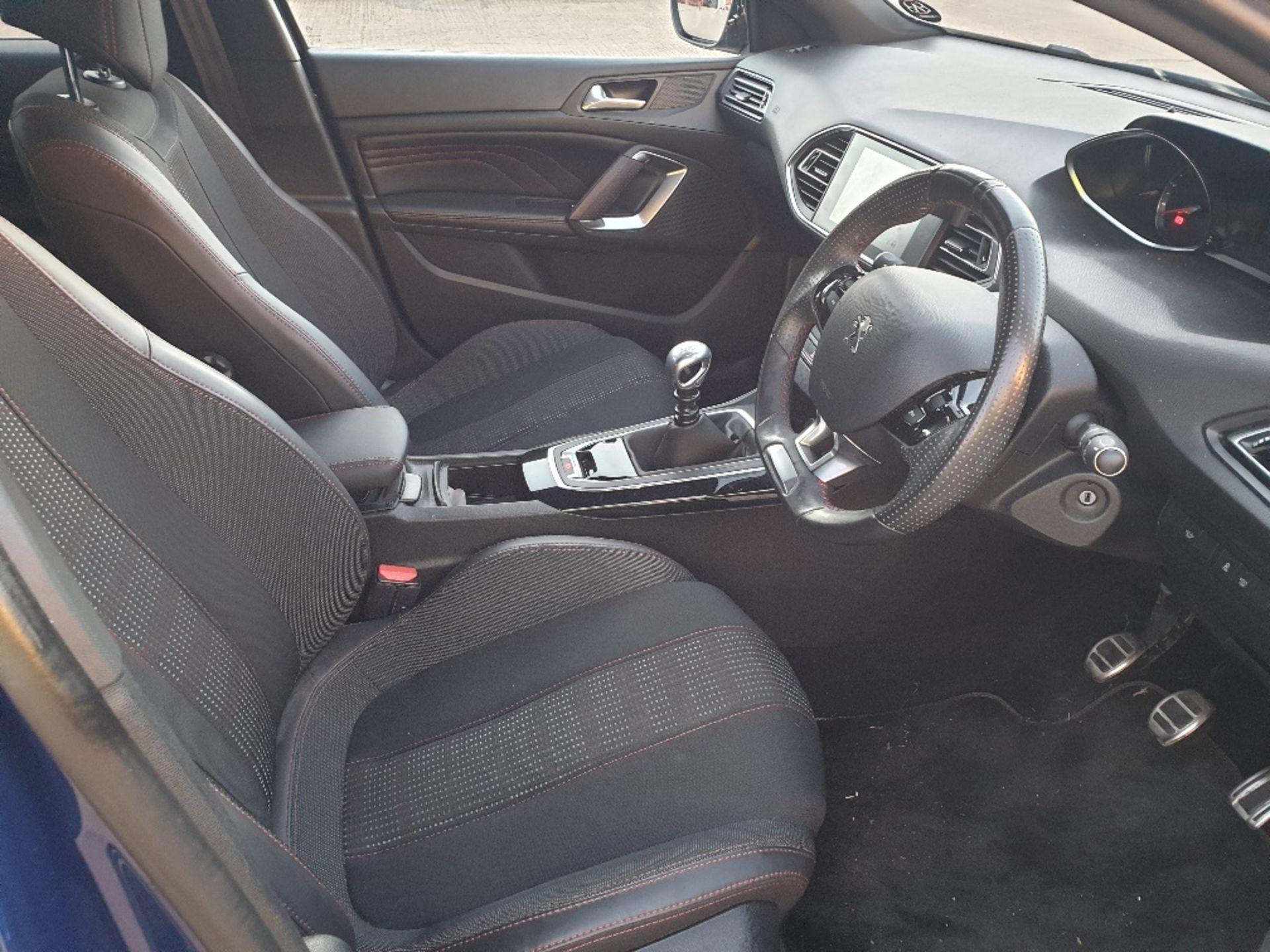 BLUE PEUGEOT 308 GT LINE. Reg : MJ66 UCN, Mileage : 14470 Details: WITH 2 X KEYS WITH V5 MOT UNTIL - Image 7 of 12