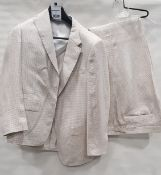 3 X BRAND NEW LUTWYCHE 2 PC CREAM & BROWN CHECK SUITS SIZES 46R, 44R, 40R (NOTE NOT FULLY TAILORED)