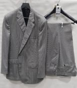 3 X BRAND NEW LUTWYCHE 2 PC BLACK & WHITE DOT MATCHING SUITS SIZES 46R, 44L,,44S (NOTE NOT FULLY