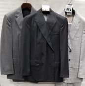 3 X BRAND NEW LUTWYCHE 2 PC GREY SHADES MATCHING SUITS SIZES 40R, 40, 40R (NOTE NOT FULLY TAILORED)
