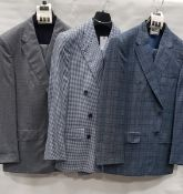 3 X BRAND NEW LUTWYCHE 2 PC COLOURED SUITS SIZES 42R, 40R, 44R (NOTE NOT FULLY TAILORED)