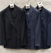 3 X BRAND NEW LUTWYCHE 2 PC DARK BLUE SHADES MATCHING SUITS SIZES 46R, 42R, 42R (NOTE NOT FULLY
