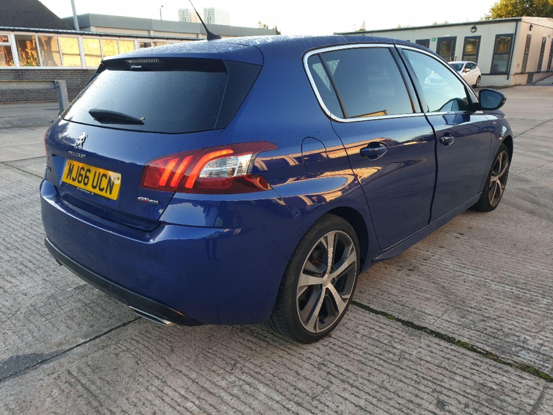 BLUE PEUGEOT 308 GT LINE. Reg : MJ66 UCN, Mileage : 14470 Details: WITH 2 X KEYS WITH V5 MOT UNTIL - Image 2 of 12