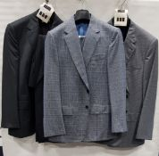 3 X BRAND NEW LUTWYCHE 2 PC GREY SHADES MATCHING SUITS SIZES 40R, 42R, 46R (NOTE NOT FULLY