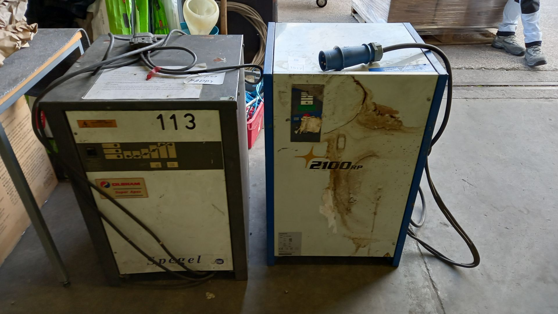 2 PIECE LOT CONTAINIING 1 X OLOHAM SUPER APEX FORKLIFT CHARGER AND 1 X 2100RP FORKLIFT CHARGER