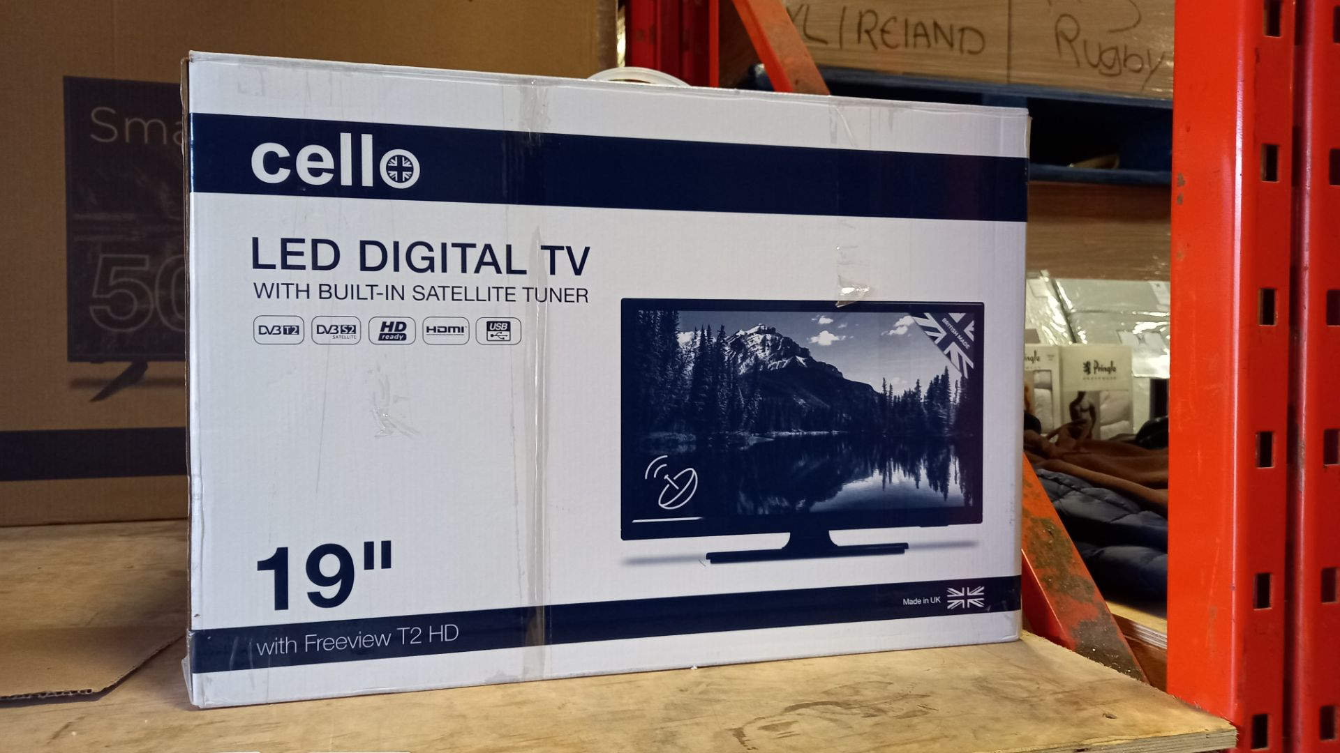 1 X BRAND NEW CELLO 19 LED DIGITAL TV WITH BUILT IN SATELLITE TUNER (WITH FREEVIEW T2 HD)