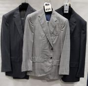 3 X BRAND NEW LUTWYCHE 2 PC GREY SHADES MATCHING SUITS SIZES 46R, 40R, 40S (NOTE NOT FULLY