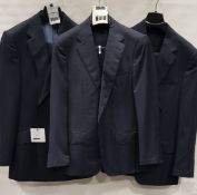 3 X BRAND NEW LUTWYCHE 2 PC DARK BLUE SHADES MATCHING SUITS SIZES 41R, 40R, 40S (NOTE NOT FULLY