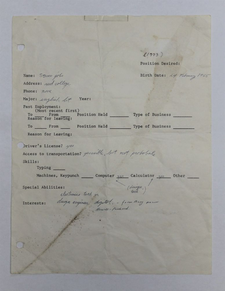 Steve Jobs 1973 Hand-Written and Signed Job Application