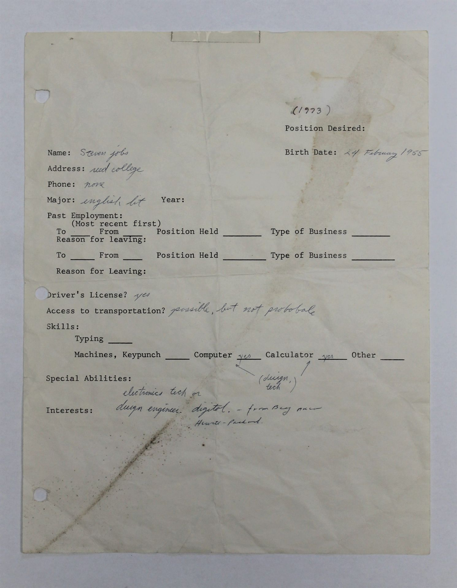 Steve Jobs 1973 Hand-Written and Signed Job Application