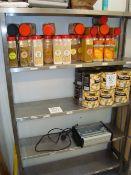 A stainless steel five shelf storage rack