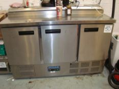 A Polar G605 low height stainless steel three door chiller with bain marie top Serial No. 6210585