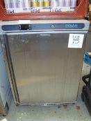 A Polar CD080 stainless steel low height single door fridge. Serial No. 6211484
