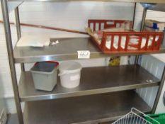 A Sissons stainless steel four shelf storage rack