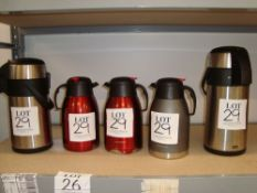Five various insulated flasks