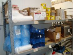 A large quantity of packaging materials including labels, cardboard boxes, insulation materials,