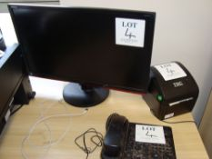 A quantity of electronic computer and office equipment including three flat screen monitors, TSC