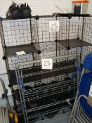 A steel framed folding clothes drying rack and a wire framed shoe rack