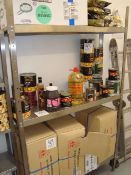 A stainless steel three shelf adjustable storage rack