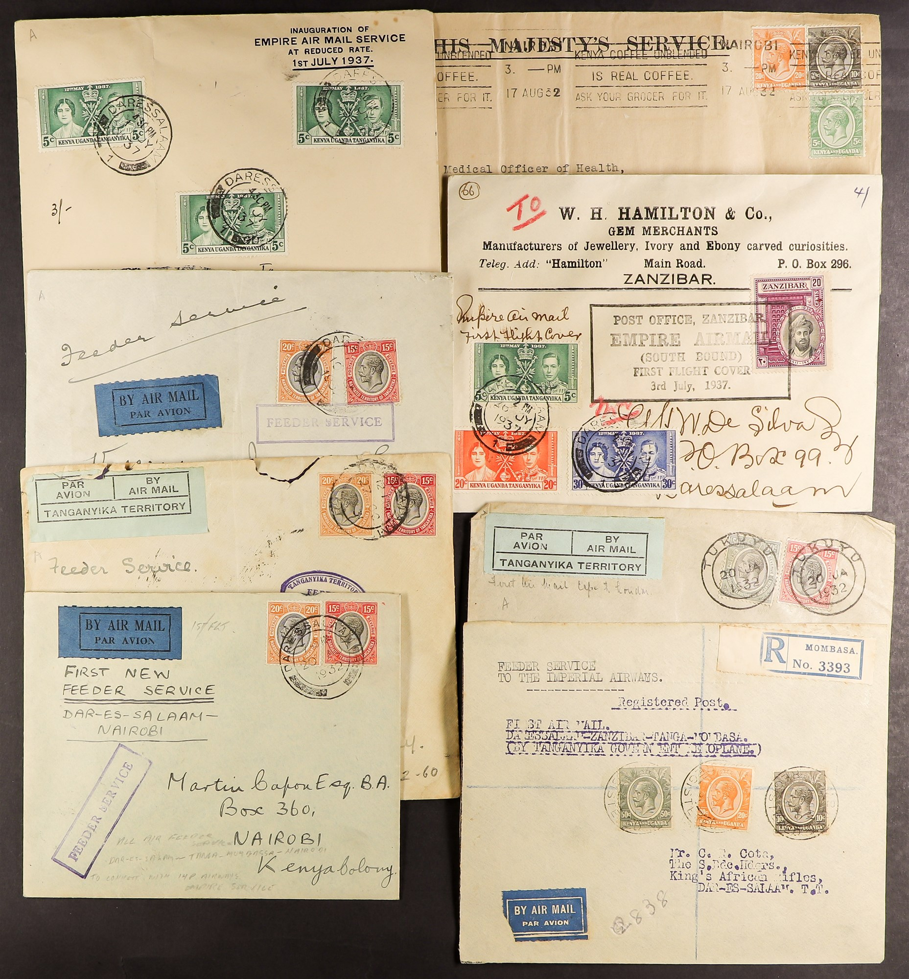 TANGANYIKA AIRMAIL COVERS COLLECTION 1931-37 a good range with some showing Tanganyika Territory Air