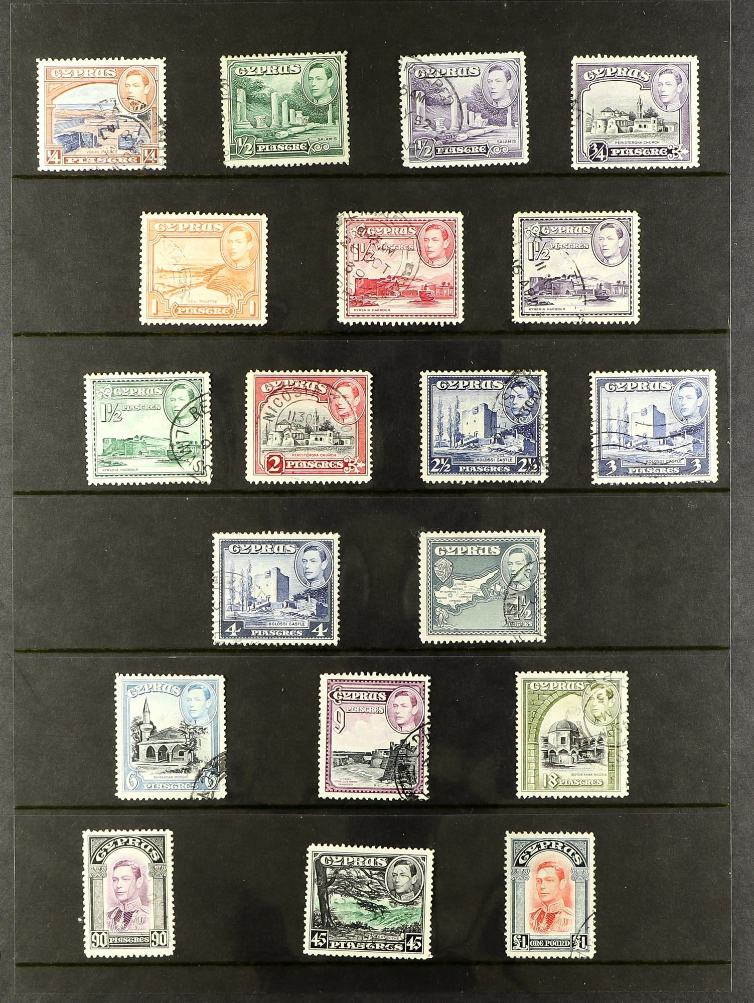 CYPRUS 1880-1935 old used collection incl. 1880 GB overprints including 2½d & ½d plate 15 used, - Image 7 of 7