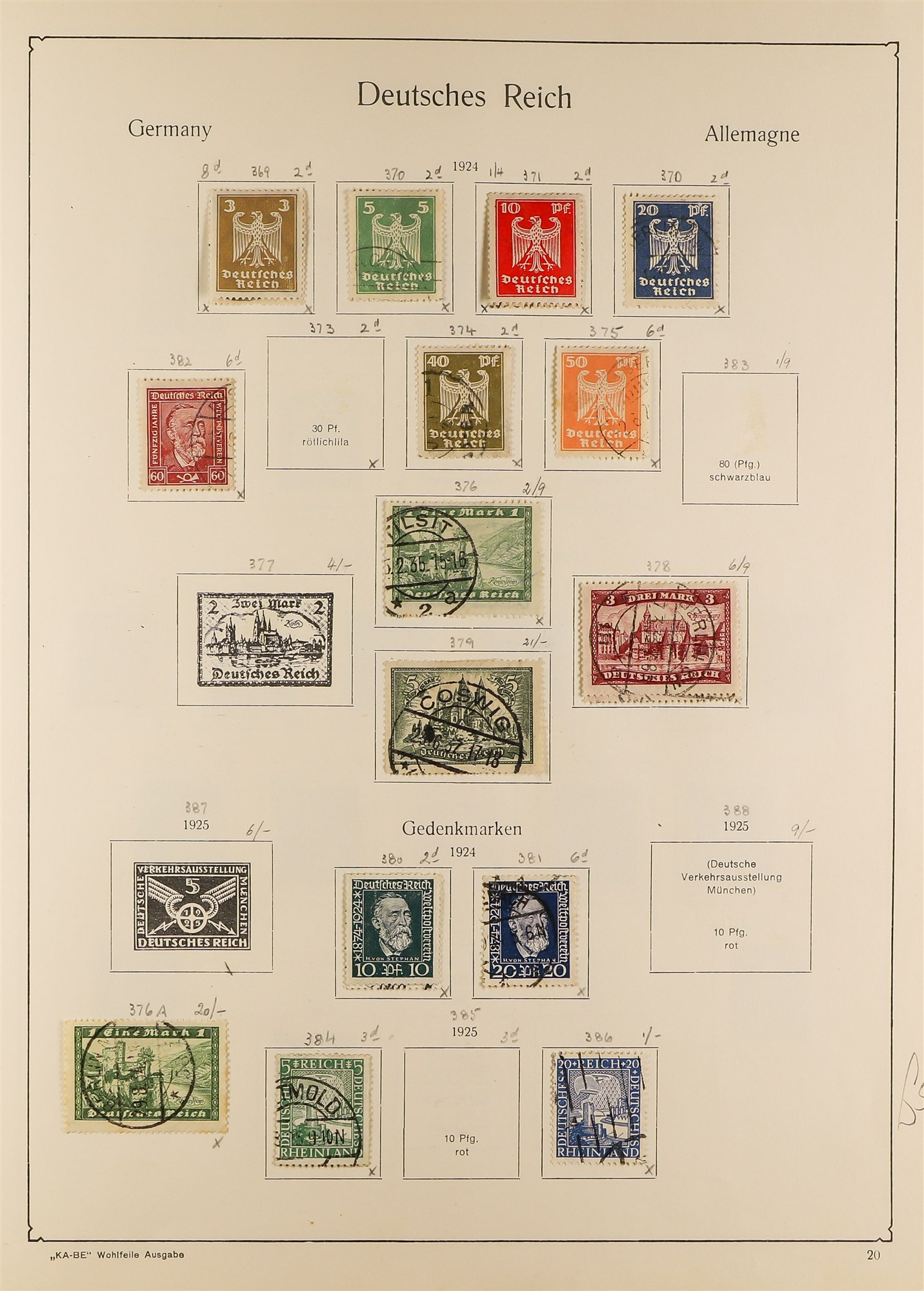 COLLECTIONS & ACCUMULATIONS FRANCE, GERMANY, SWITZERLAND IN TWO LARGE KA-BE ALBUMS with useful - Image 10 of 12