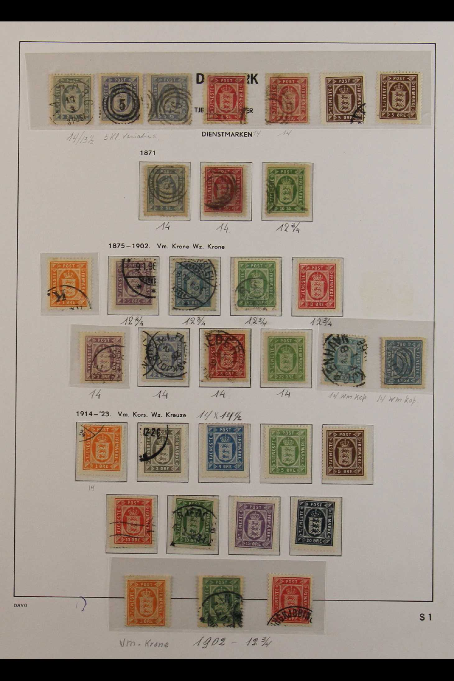 DENMARK OFFICIAL STAMPS 1871-1923 mint and used collection, incl. 1871 (Skilling) used 2sk (4),