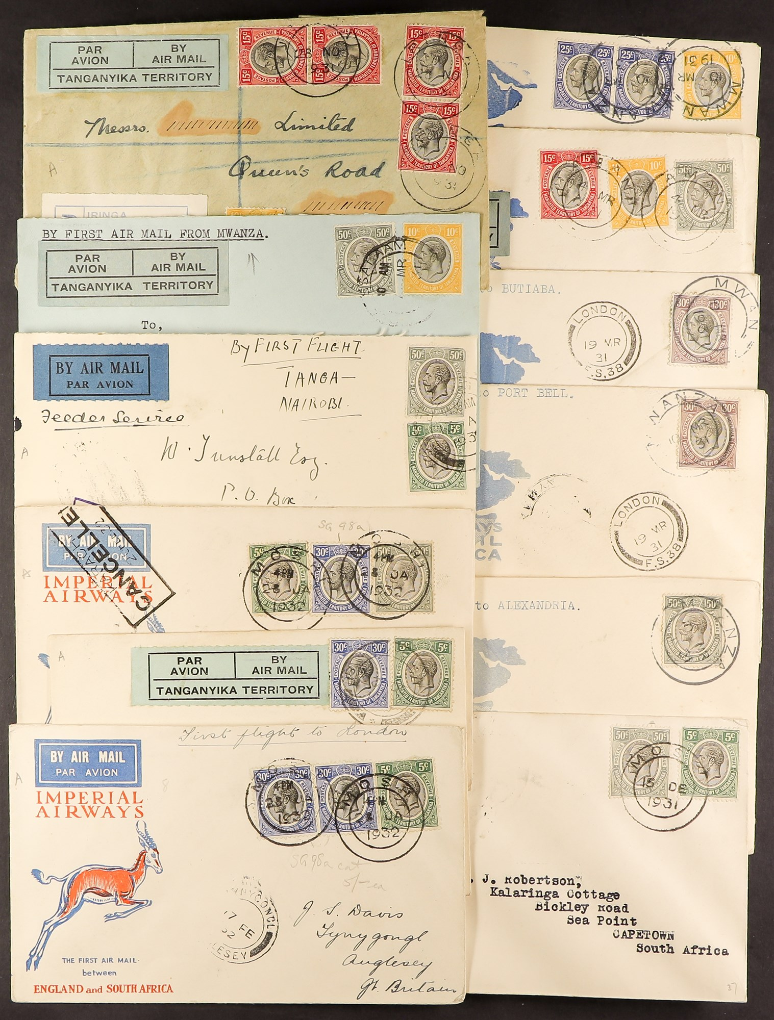 TANGANYIKA AIRMAIL COVERS COLLECTION 1931-37 a good range with some showing Tanganyika Territory Air - Image 2 of 4