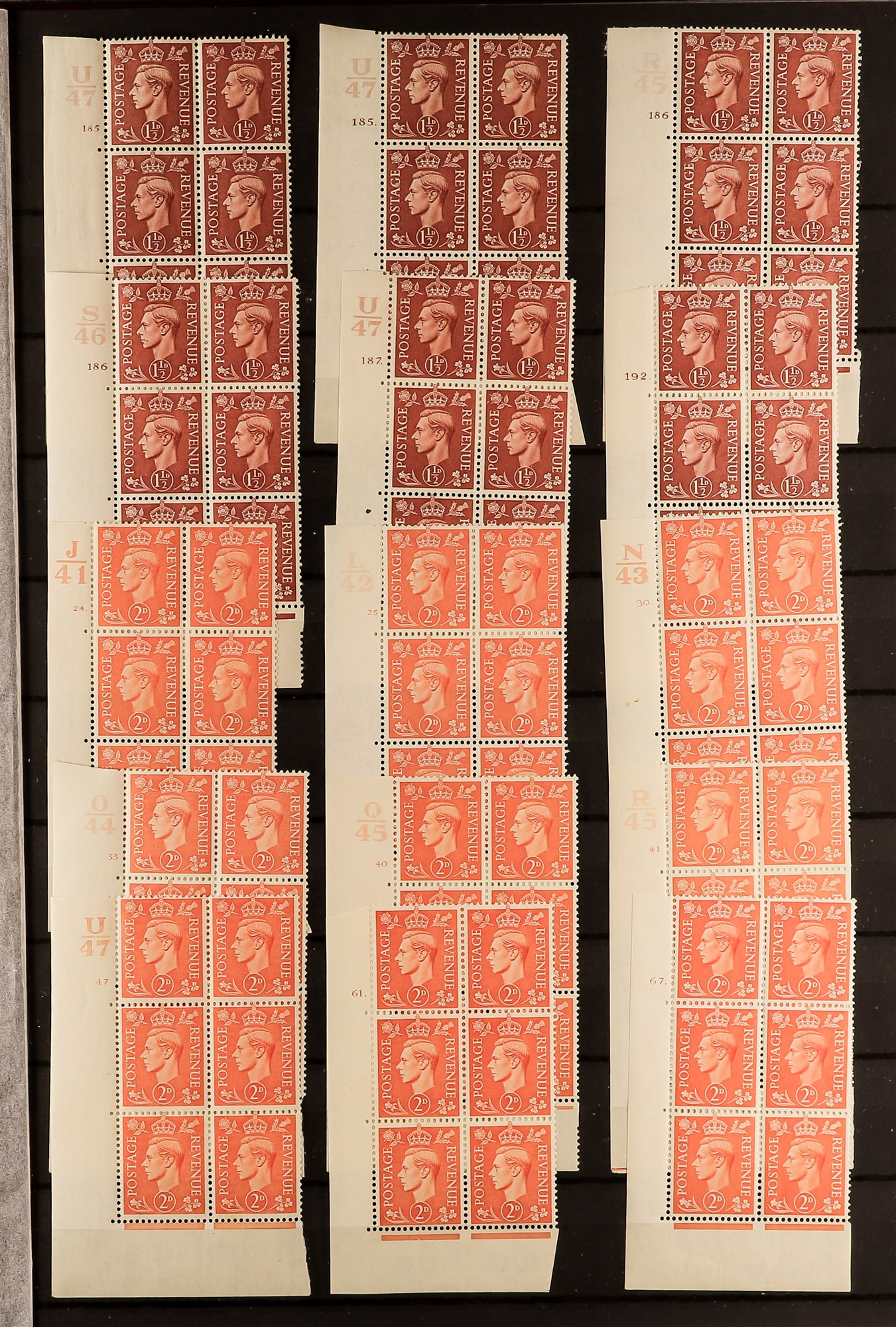GB.GEORGE VI 1941-42 PALE AND 1950-52 NEW COLOURS CONTROL & CYLINDER BLOCKS OF SIX COLLECTION of all