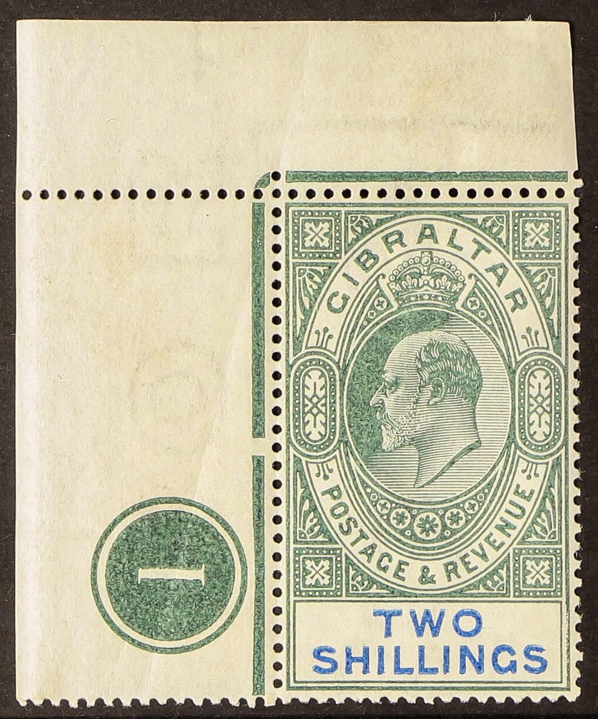 GIBRALTAR 1903 2s green and blue, SG 52, upper left corner plate number example, stamp never