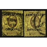 GB.EDWARD VII OFFICIALS - ADMIRALTY 1903-04 3d purple and yellow, both types SG O106 & 112, neatly