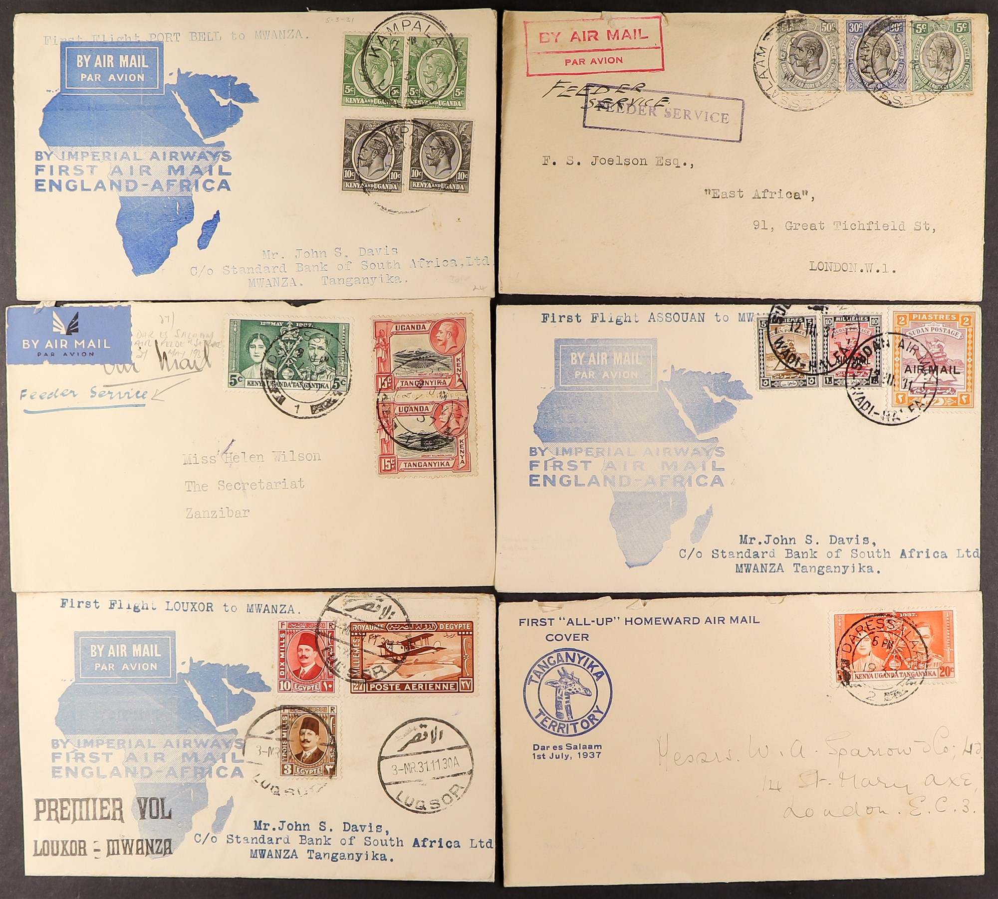 TANGANYIKA AIRMAIL COVERS COLLECTION 1931-37 a good range with some showing Tanganyika Territory Air - Image 4 of 4