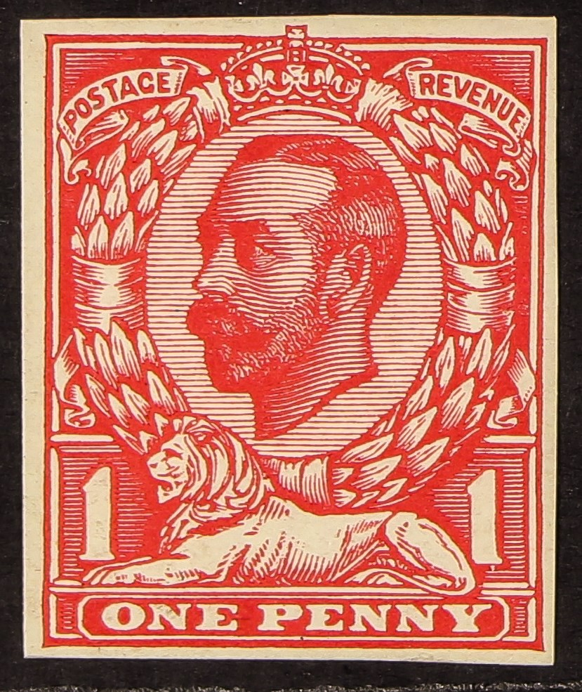 GB.GEORGE V 1912 1d Downey Head die 1B, imperf plate proof, never hinged mint, cat £280 as mint.