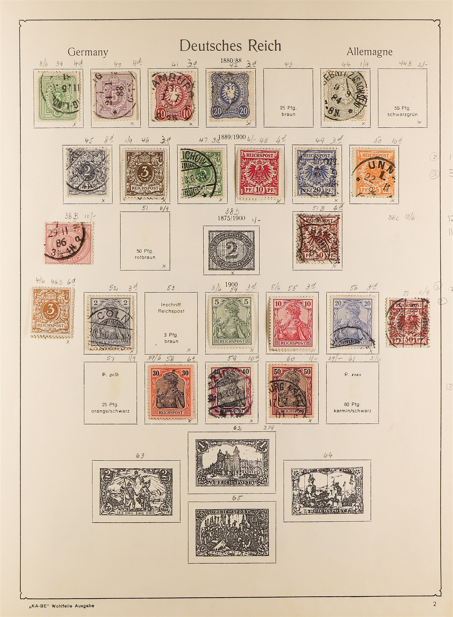 COLLECTIONS & ACCUMULATIONS FRANCE, GERMANY, SWITZERLAND IN TWO LARGE KA-BE ALBUMS with useful - Image 8 of 12