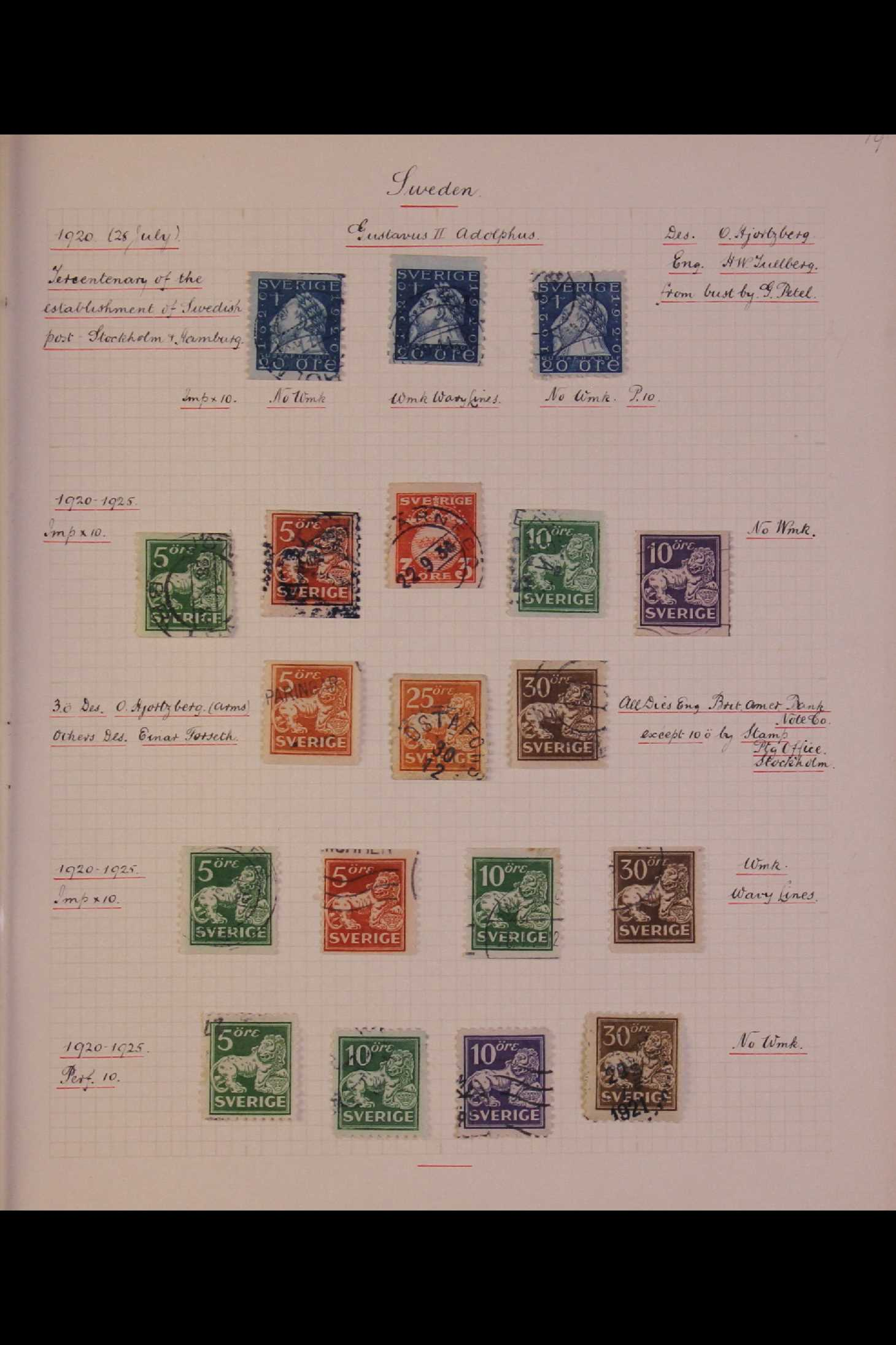 SWEDEN 1903-1966 USED COLLECTION incl. 1903 5k GPO, 1910-19 wmk Crown set, 1916 Landstorm surcharges - Image 5 of 12