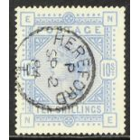 GB.QUEEN VICTORIA 1883-84 10s cobalt on blued paper, SG 177a, fine used with neat Hereford 1884 cds.
