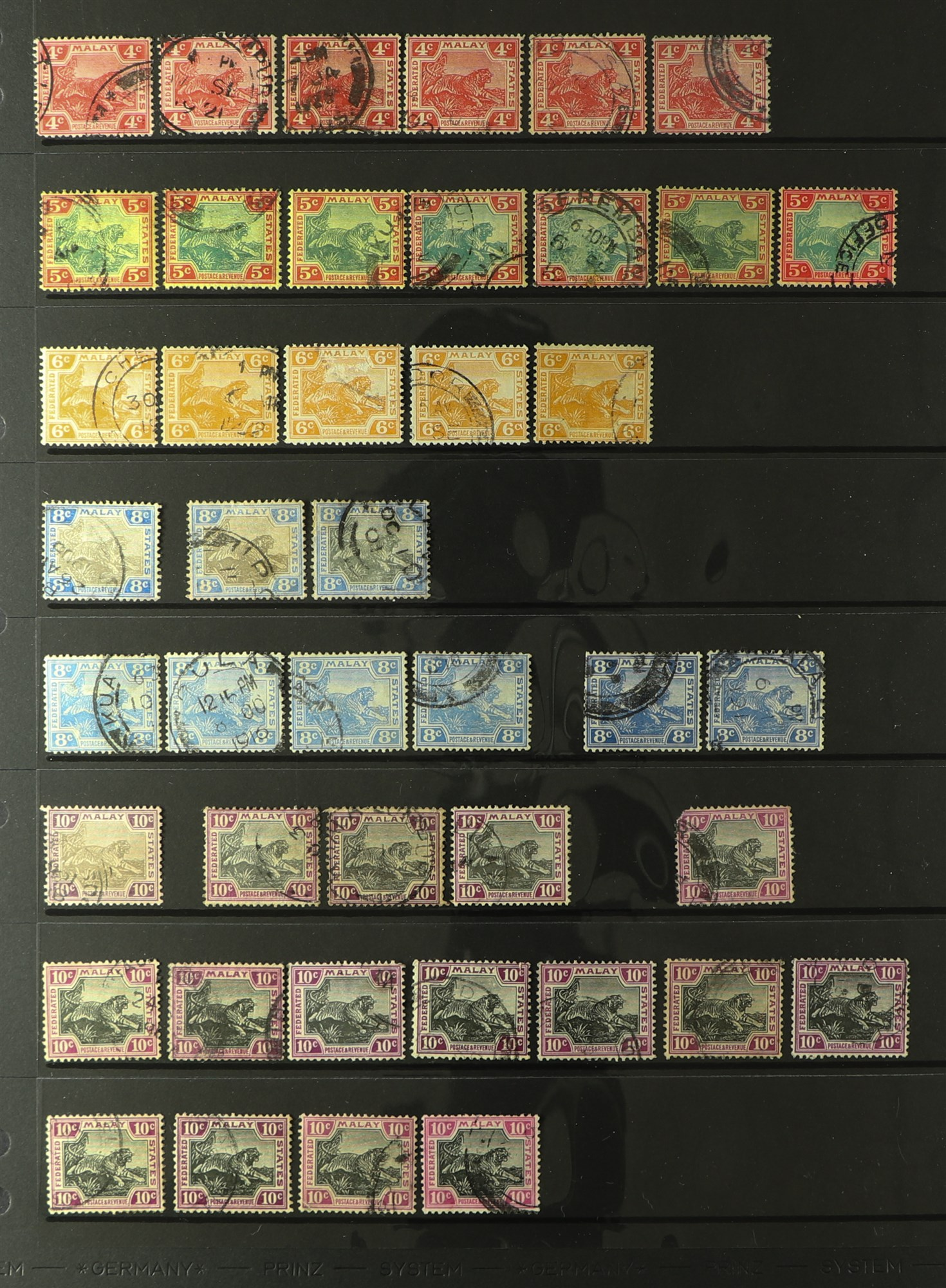 MALAYA STATES FEDERATED MALAY STATES 1900-1934 used ranges with many shades, wmk varieties & - Image 2 of 6